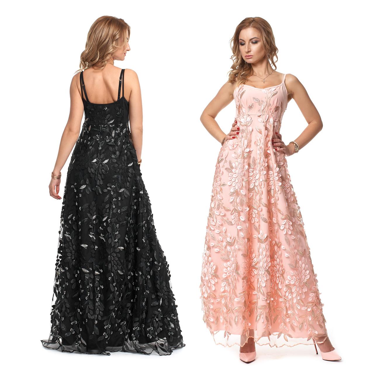 a932bde371a Купить Длинное вечернее платье из гипюра с расклешенной юбкой по ...