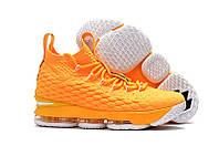 Баскетбольные кроссовки Nike Lebron 15 Yellow and White РЕПЛИКА
