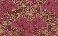 """Обои виниловые """"С классическими узорами \ Барокко"""" в гостиную, малиновые, 0,53 Х 10 – Эдем 1026-14"""