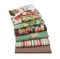 Набор тканей (Ткань) Зелено-коричневые оттенки для Пэчворка 40x50 см 6 шт, фото 1