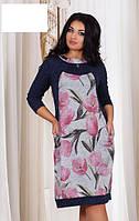Платье ангора розовые тюльпаны ботал  с1239-1, фото 1