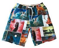 Длинные мужские пляжные шорты с принтом Self