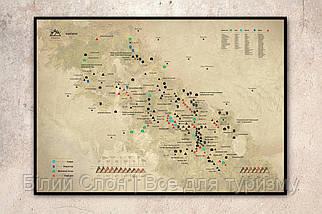 """Скретч-карта карпатських гір в металевій рамі """"КАРПАТИ"""" (оновлена карта)"""