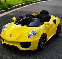 Электромобиль детский аккумуляторный Porsche кожаное сиденье G 1568-Y, желтый