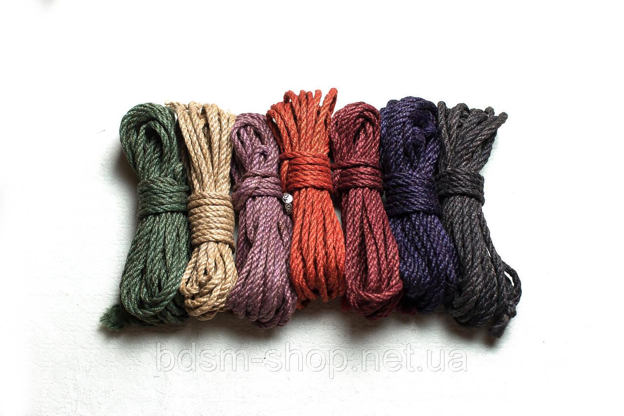 Набор Веревка для Шибари  6шт 6мм цветная + Мешок