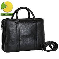 Вместительная мужская сумка-портфель из натуральной высококачественной кожи черная HT001373-11