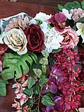 Квіткова гірлянда тон кольору марсала., фото 3