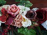 Квіткова гірлянда тон кольору марсала., фото 5