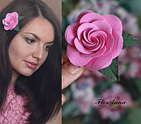 """Украшения на выпускной вечер """"Розовая роза с листиками"""". Подарок девушке, фото 1"""