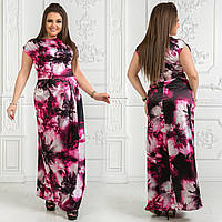 Женское атласное платье в пол. Размер 48, 50, 52-54, 56-58, 60-62. В наличии 5 цветов