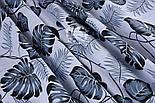 """Ткань хлопковая """"Листья монстеры и пальмы"""" среднего размера серые на белом фоне, №1308, фото 3"""