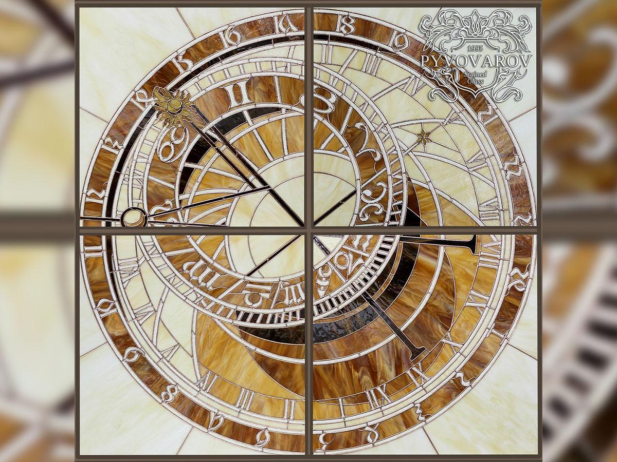Витражный потолок Пражские часы в технике Тиффани