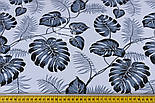 """Ткань хлопковая """"Листья монстеры и пальмы"""" среднего размера серые на белом фоне, №1308, фото 5"""