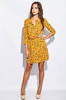Платье женское цветочное с ремешком 969K002 (Горчичный)
