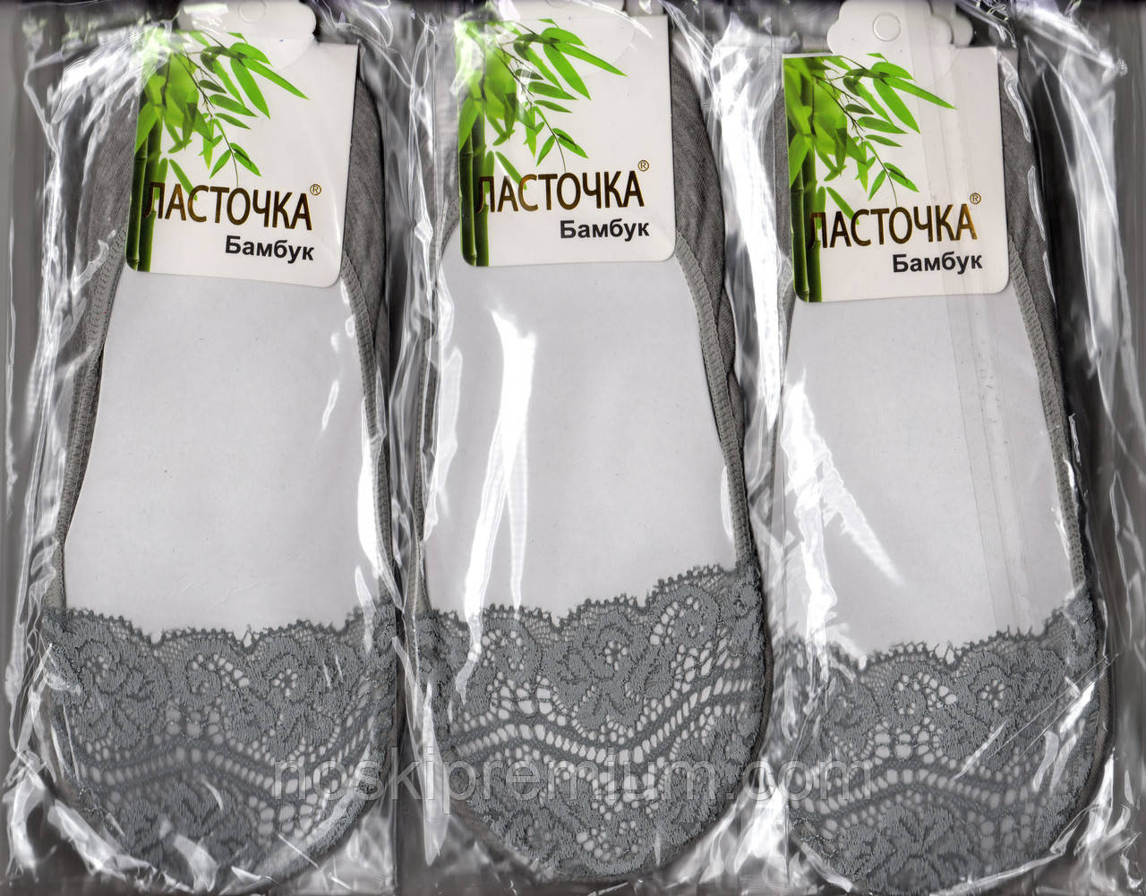 Подследники женские бамбук с гипюром Ласточка, серые, С12-2