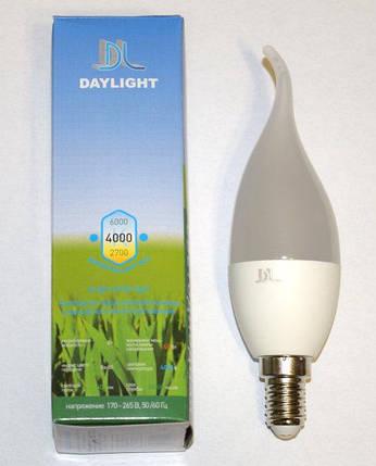 Светодиодная LED лампа Daylight свеча на ветру 7W E14 2700К теплый свет, фото 2
