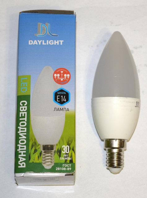 Светодиодная LED лампа Daylight C37 7W E27 4000К яркий свет