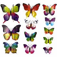 Набор №6 из 12шт декоративных 3-D бабочек с двойными крылышками