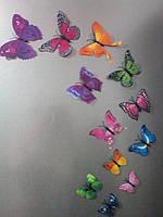 Набор №7 из 12 шт декоративных 3-D бабочек с двойными крылышками, ассорти