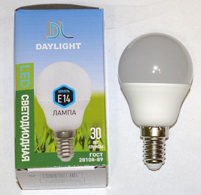 Светодиодная LED лампа Daylight G45 7W E14 2700К теплый свет