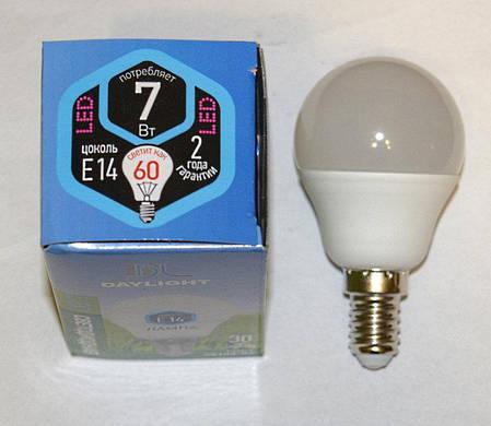 Светодиодная LED лампа Daylight G45 7W E27 2700К теплый свет, фото 2