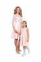 Стильный фэмили лук - платье-клеш цвета пудры, с кружевом