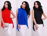 Нарядная шифоновая блузка с пелериной красная синяя белая голубая черная розовая, фото 1