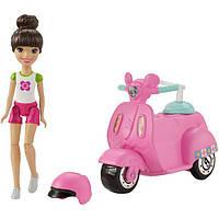 Barbie Барби в движении, со скутером On The Go Vehicle & Doll, White & Pink Outift, фото 1