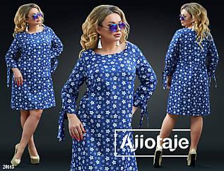 Свободное джинсовое в цветочек платье с завязками на рукавах, батал большие размеры