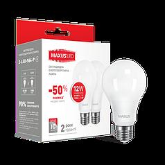 Лампа светодиодная MAXUS A65 12W E27 (мультипак 2 штуки) мягкий свет