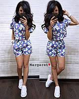 Женский джинсовый костюм: шорты и широкий топ, в расцветках. БЛ-6-0518, фото 1