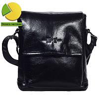 Небольшая мужская кожаная сумка через плечо лакированная черная High Touch  HT003416-51 7f4bcbe33aab3