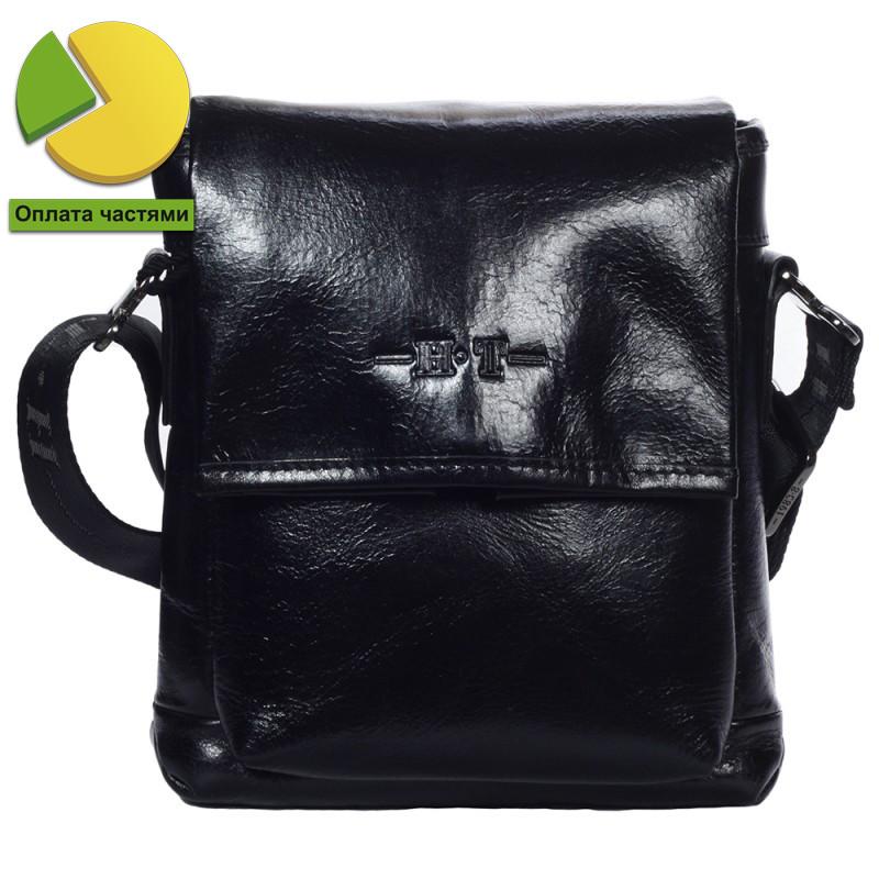 Небольшая мужская кожаная сумка через плечо лакированная черная High T
