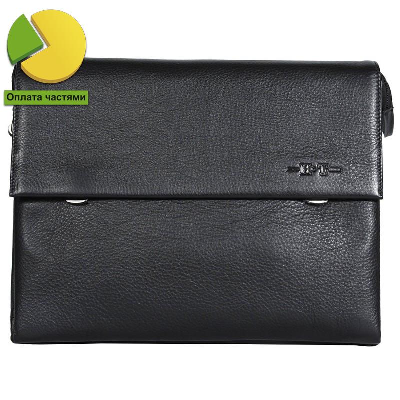 4dbf001b0d66 Деловая мужская кожаная сумка горизонтальная формата А4 черная High Touch  HT005125-31
