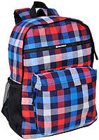 Легковесный молодежный рюкзак в клетку 18 л. Paso 14-016A разноцветный