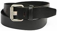Гладкий мужской кожаный ремень под джинсы, Vanzetti, Германия, 100060 черный, 4х118 см