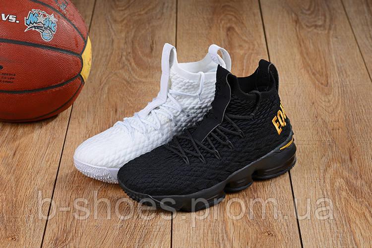 Мужские баскетбольные кроссовки Nike LeBron 15 (Black/White)