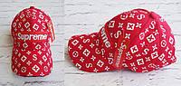 Модная кепка бейсболка LV Supreme красная , фото 1