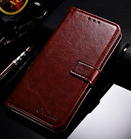 Кожаный чехол-книжка для Xiaomi Redmi 5 коричневый