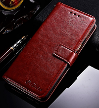 Кожаный чехол-книжка для Samsung Galaxy A8 2018 A530 коричневый