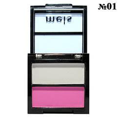Тени Meis MS-0202 2-х цветные Белые, Розовые Матовые Компактные. Тон 01