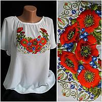 """Блуза вышитая """"Украинский мак с черникой"""" на шифоне для женщин, 42-56 р-ры, 300/260 (цена за 1 шт. + 40 гр.), фото 1"""
