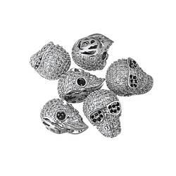 Металлическая бусина со стразами Череп. Цвет: Серебро, Размер: 13х10х9мм.