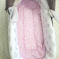 Нежно-розовый матрасик в коляску + Бортики