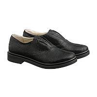 Туфли на низком каблуке без шнуровки  в цвете никель
