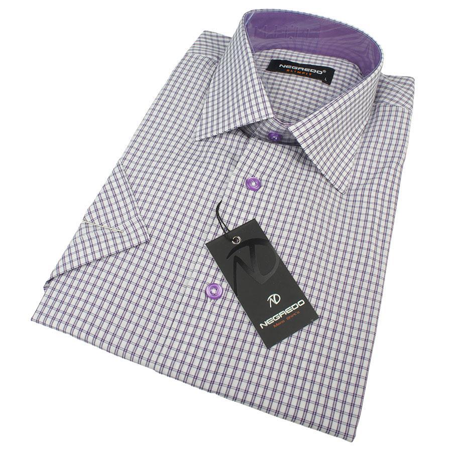 Мужская классическая рубашка в клетку Negredo 0310 H Slim С размер XL