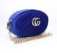Велюровый клатч на цепочке, сумочка на пояс Gucci 2038-2 синяя, фото 1