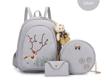Городской набор 3в1, рюкзак, сумка, визитница с принтами оленя и брелком м, фото 2