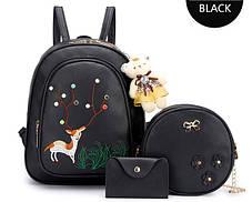 Городской набор 3в1, рюкзак, сумка, визитница с принтами оленя и брелком м, фото 3