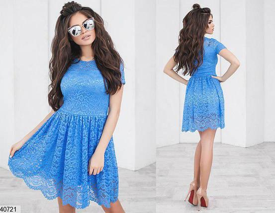 Красивое платье короткое юбка солнце клеш короткий рукав цвет джинс, фото 2